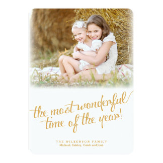 Most Wonderful Time in Gold Christmas Photo Card