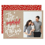 Most Wonderful Time Of Year Kraft Photo Card at Zazzle