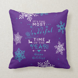 Most Wonderful Time Purple Turquoise Christmas Pillows