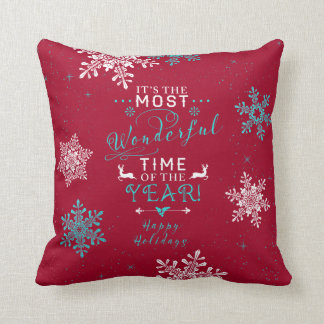 Most Wonderful Time Red Turquoise Christmas Pillow