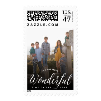 Most Wonderful Time Script Holiday Photo Stamps