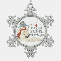 Most Wonderful Time Snowman Christmas Ornament at Zazzle