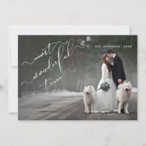 Most Wonderful Time White Calligraphy Photo Name Holiday Card