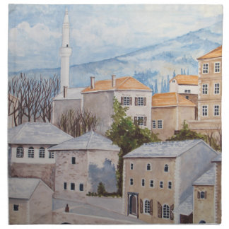 Mostar, Bosnia - Acrylic Townscape Painting Napkin