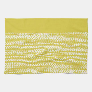 Mostaza amarilla y modelo de punto blanco toallas de mano