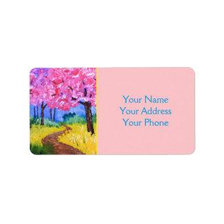 Mostaza de campo de los cerezos después de la etiquetas de dirección