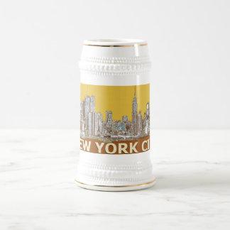 Mostaza del azafrán de NYC Jarra De Cerveza