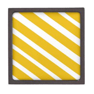 Mostaza diagonal del galón de la raya amarilla cajas de recuerdo de calidad