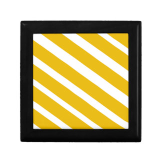 Mostaza diagonal del galón de la raya amarilla joyero cuadrado pequeño