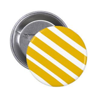 Mostaza diagonal del galón de la raya amarilla pin redondo de 2 pulgadas