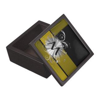 Mostaza y negro cones monograma caja de regalo de calidad