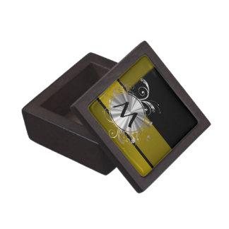 Mostaza y negro cones monograma cajas de recuerdo de calidad