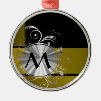 Mostaza y negro cones monograma adorno redondo plateado