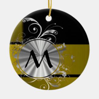 Mostaza y negro cones monograma adorno redondo de cerámica