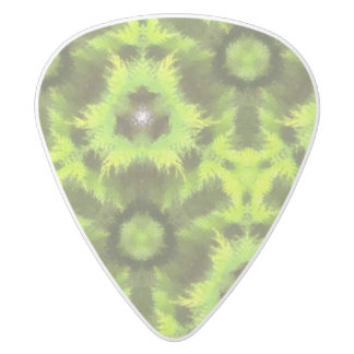 Mostly Green modern pattern White Delrin Guitar Pick