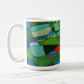 """Mostly Greens"" Abstract Design Mug"