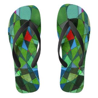 """""""Mostly Greens"""" cool color theme flip flops. Flip Flops"""