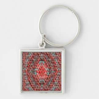 Mostly red mosaic pattern Silver-Colored square keychain