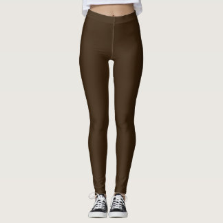 Mostly Solid Brown Accent Rose on the back Leggings