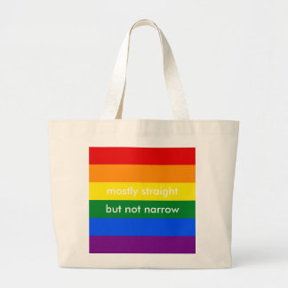 Mostly Straight But Not Narrow LGBT Ally Large Tote Bag