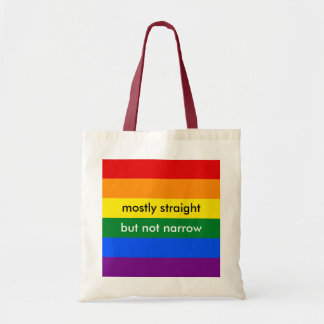 Mostly Straight But Not Narrow LGBT Ally Rainbow Budget Tote Bag