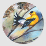 Mostrar apagado a los pegatinas del pájaro etiqueta redonda