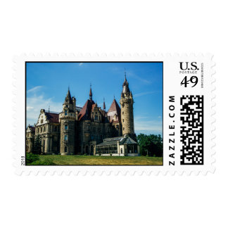 Moszna Castle in Poland, Architecture Photo Postage