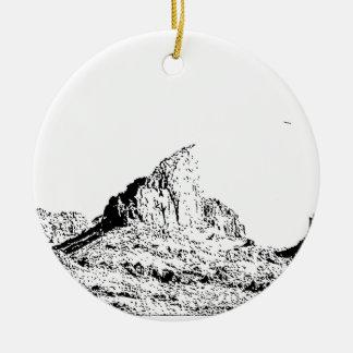 Mota acentuada de la pluma y de la tinta adorno navideño redondo de cerámica