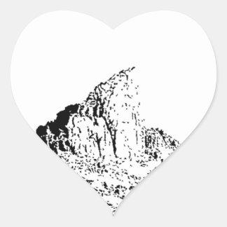 Mota acentuada de la pluma y de la tinta pegatina en forma de corazón