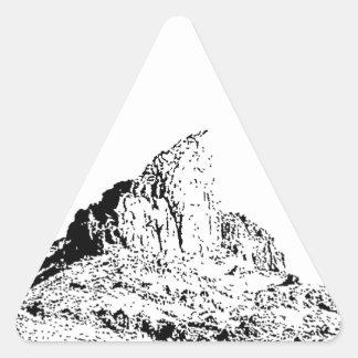 Mota acentuada de la pluma y de la tinta pegatina triangular