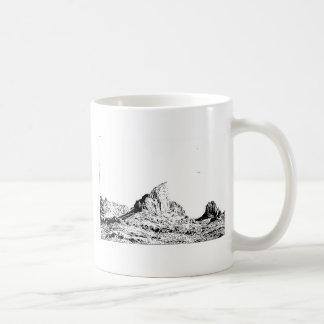 Mota acentuada de la pluma y de la tinta taza de café