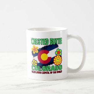 Mota con cresta, capital del Wildflower de Colorad Tazas De Café