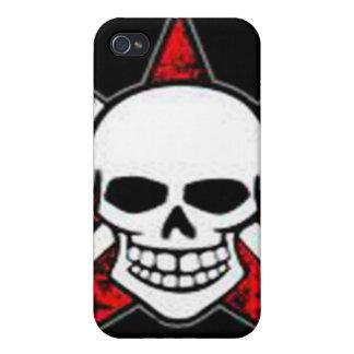 Mota de Iphone 4 - cráneo y estrella roja iPhone 4 Protectores
