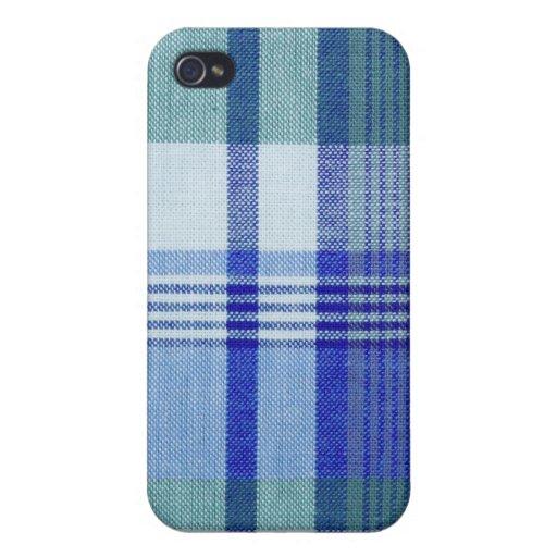 """Mota del iPhone 4/4S de la """"tela escocesa azul"""" iPhone 4/4S Carcasa"""
