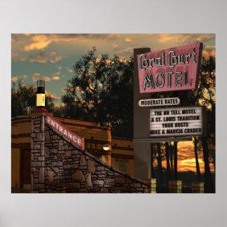 Motel coralino de la corte en el poster de la ruta