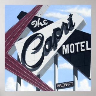 Motel de Capri en el poster de neón retro de la ru