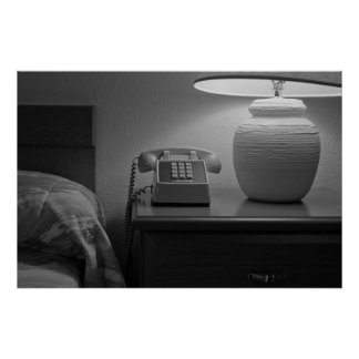 Motel Room With Retro Phone Lamp Bed Posters