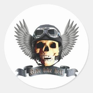 Motero Skull a Pegatina Redonda