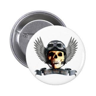 Motero Skull a Pin Redondo 5 Cm
