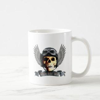 Motero Skull a Taza Básica Blanca
