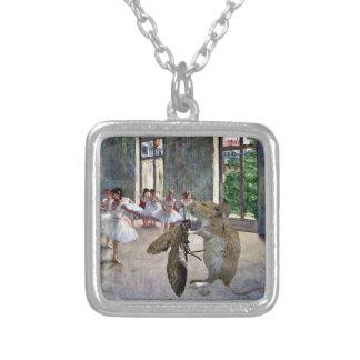 Moth and Mouse Cotillion Square Pendant Necklace