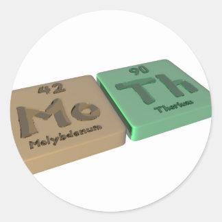 Moth as Mo Molybdenum and Th Thorium Classic Round Sticker
