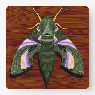 Moth Emboss Square Wall Clock