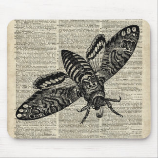 Moth Insect  Vintage Illustration on Old Book Page Mouse Pad