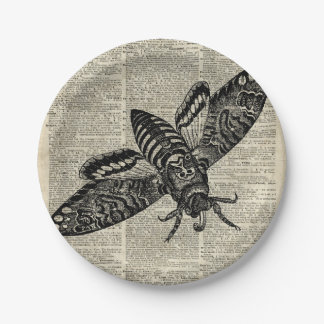 Moth Insect  Vintage Illustration on Old Book Page Paper Plate
