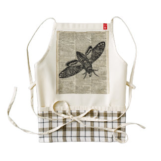 Moth Insect  Vintage Illustration on Old Book Page Zazzle HEART Apron