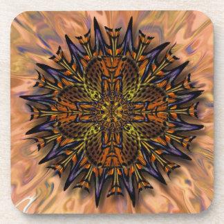 Moth Kaleidoscope Mandala Cork Coaster