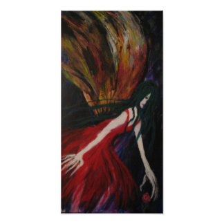 Moth Lady Reaching for Rose Poster