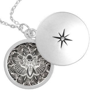 Moth Mandala Locket Necklace