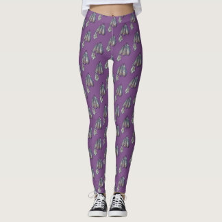 Moth on Eggplant Pattern Leggings
